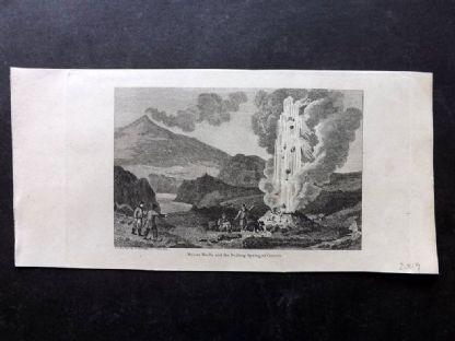 Phillips (Pub) 1823 Antique Print. Mount Hecla and the Boiling Spring. Iceland